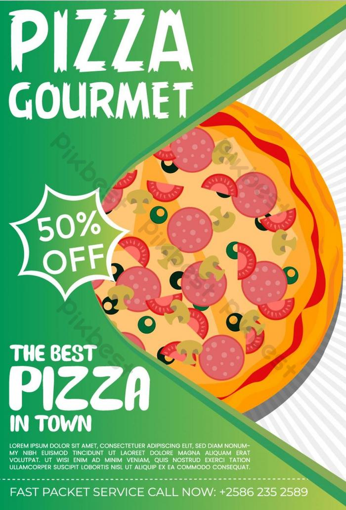 Pizza Restaurant Green Color Stylish Food Poster Ai Free Download Pikbest