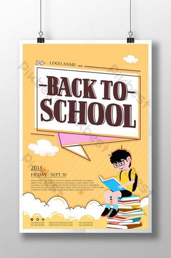 cartel de temporada escolar dibujado a mano de dibujos animados frescos Modelo PSD