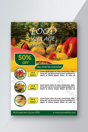 مطعم فواكه وخضروات طازجة ، نشرة إعلانية قالب PSD