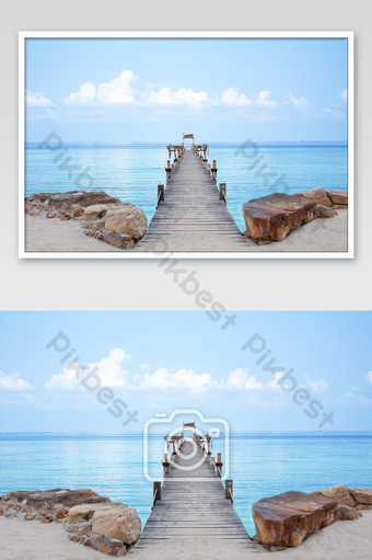 Wooden bridge pier boat in the sea and the bright sky at Koh Kood, Trat in Thailand. Photo Template JPG