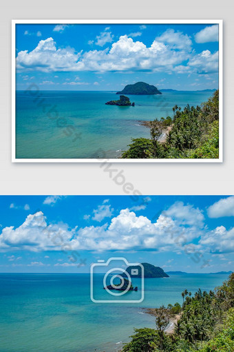 Ang ganda ng mga isla sa dagat at langit sa Sairee Sawee Beach Chumphon Thailand Larawan Template JPG