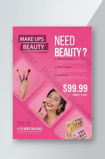 الجمال الإبداعي مجموعة الترويجية قالب نشرة الوردي قالب PSD