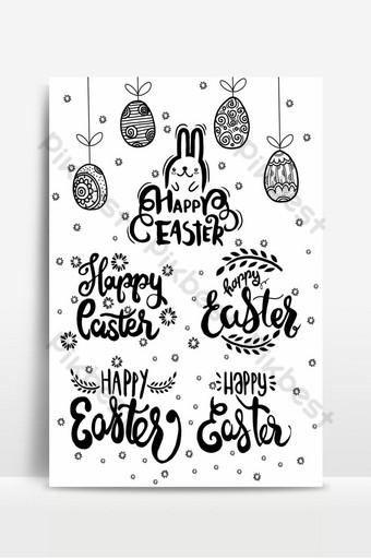 Écrit à la main des phrases de Pâques modèles de texte de carte de voeux avec des oeufs de Pâques isolés heureux Fond Modèle EPS