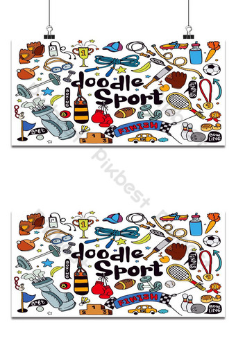Hand drawn vector illustration set of fitness and sport sign and symbol doodles elements. Backgrounds Template EPS