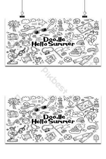 drawing vector illustration set of summer doodles elements. Backgrounds Template EPS