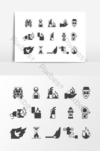 Fire Brigade Icon Set Vector Graphic Element PNG Images Template AI