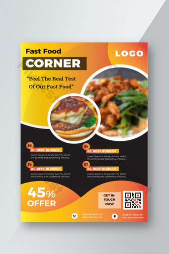 مجردة تصميم ملصق ملون الطعام نشرة مطعم قالب AI