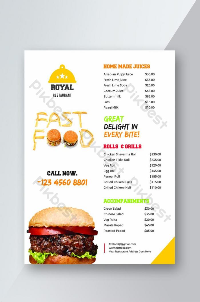 kreativer restaurant fast food menü flyer