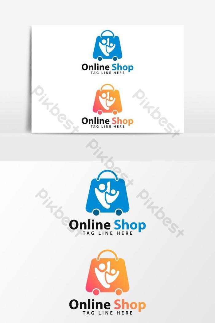 オンラインショッピングのロゴのベクトルグラフィック要素