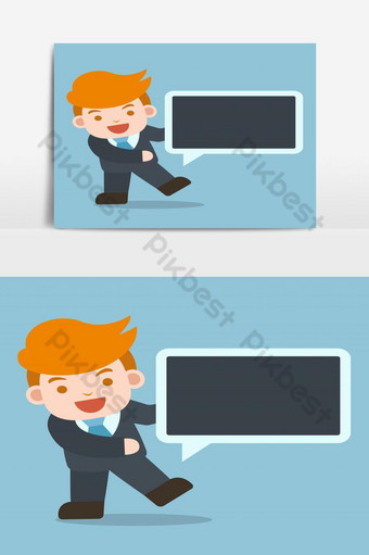 Businessman with Message Balloon Vector Graphic Element PNG Images Template PSD