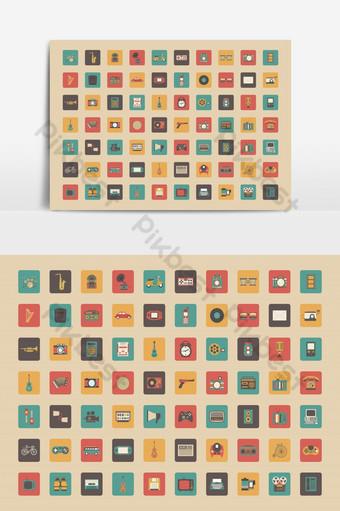 todos os ícones retro definir jogo de veículo de música e outra tecnologia estilo pastel Elementos gráficos Modelo EPS