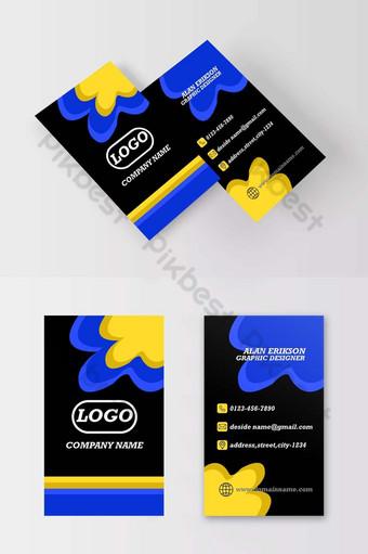 Carte de visite noir et blanc bleu jaune élégant vertical Modèle AI