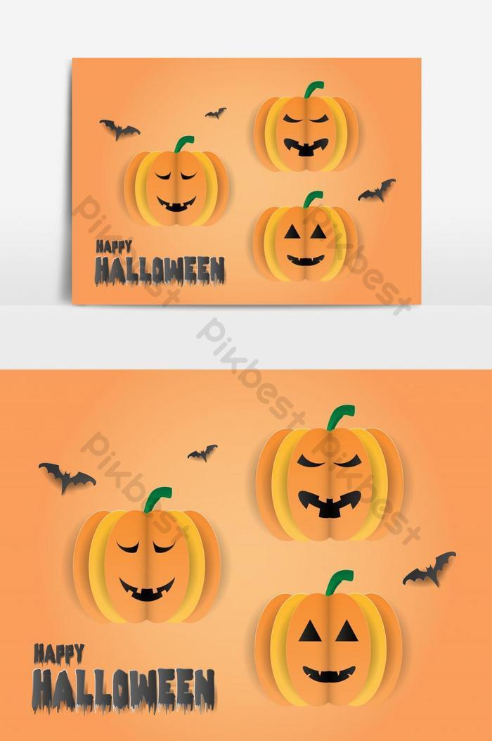 happy halloween party с элементом векторной графики тыквы и летучих мышей