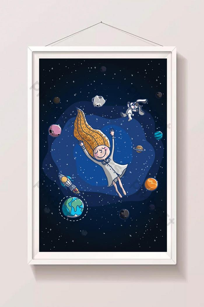little girl dreaming in space illustration