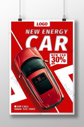 cartel de promoción de coches de nueva energía de color rojo y blanco Modelo PSD