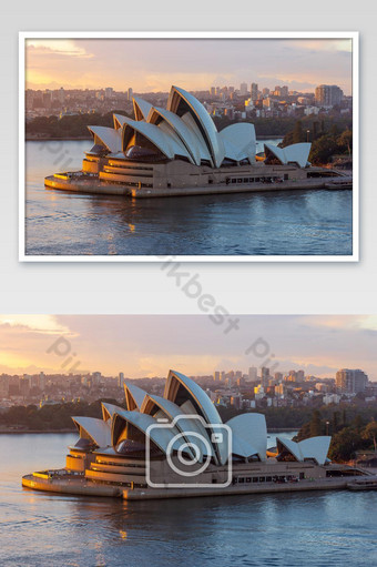 The Opera House, Landmark of Sydney city CBD on Harbour waterfront around Circular Quay du Photo Template JPG