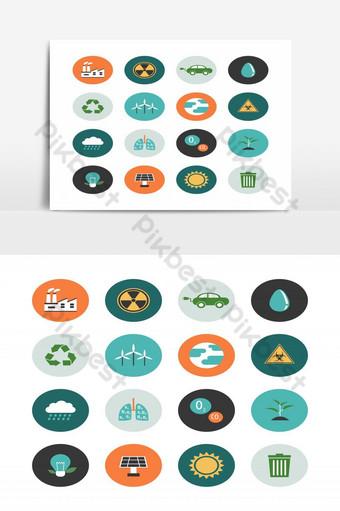 paquete de iconos de medio ambiente en elemento gráfico de vector de concepto renovable Elementos graficos Modelo EPS