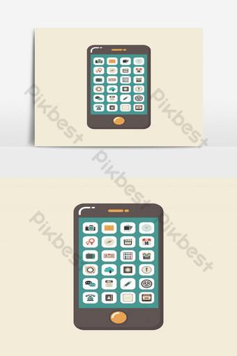 smartphone con elemento gráfico de vector de iconos de aplicación Elementos graficos Modelo EPS