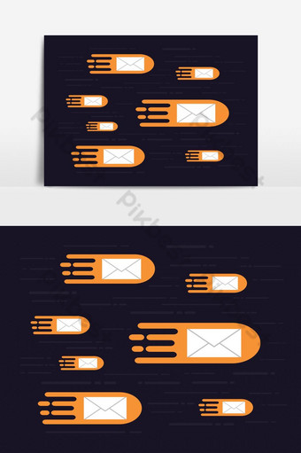 E-mails Flying in the Air Vector Graphic Element PNG Images Template EPS
