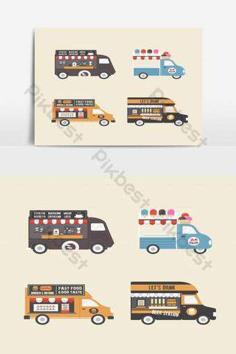 elemento gráfico de vector de servicio de camión de comida retro Elementos graficos Modelo EPS