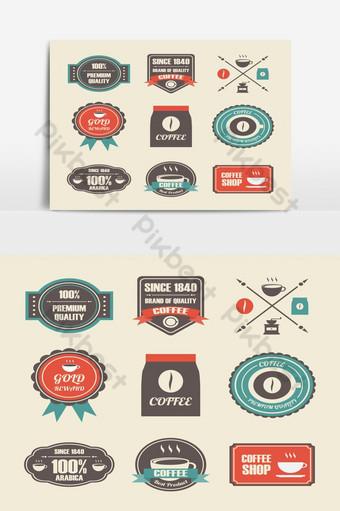 elemento gráfico de vector de paquete de etiqueta de café retro Elementos graficos Modelo EPS