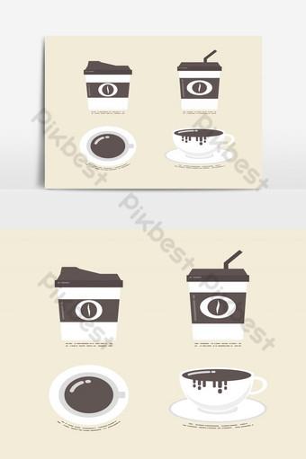 elemento gráfico de vector de paquete de icono de café plano Elementos graficos Modelo EPS