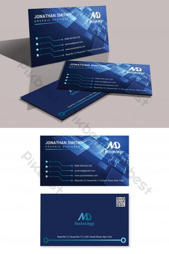 cartão de visita de tecnologia azul moderno e elegante Modelo AI