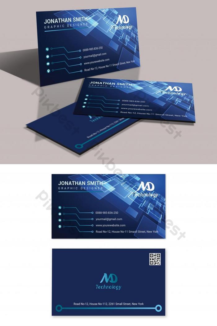 kartu nama teknologi biru modern dan bergaya