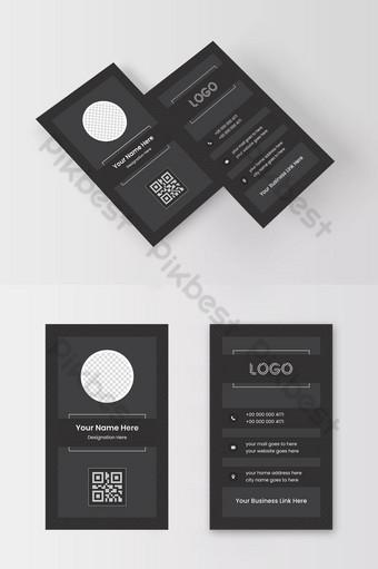 ukuran vertikal desain kartu bisnis bertema gelap perusahaan Templat AI