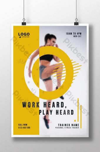 Affiche de gymnase d'entraîneur personnel minimaliste créatif Modèle PSD