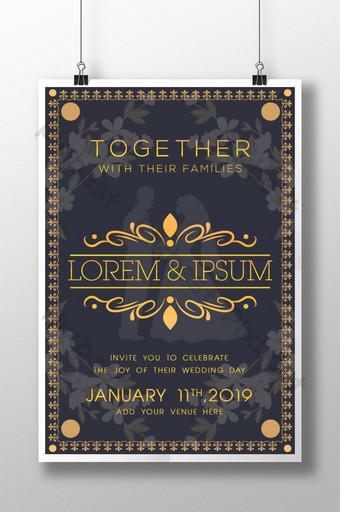 Affiche d'invitation de mariage de la famille royale Modèle AI