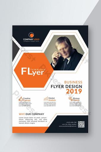Flyer de style hexagonal d'entreprise moderne Modèle PSD