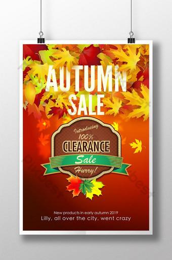 Modèle de dépliant d'affiche d'automne à feuilles caduques rouges Modèle PSD