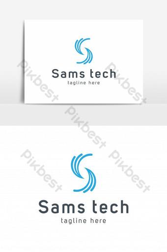 elemento gráfico del vector del logotipo de la tecnología de la letra s Elementos graficos Modelo EPS