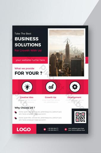 diseño de folleto de volante de color rojo corporativo para solución empresarial Modelo AI