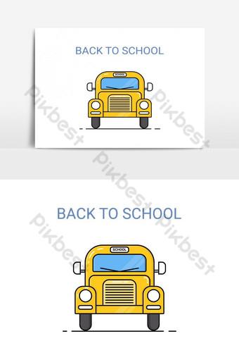 elemento gráfico de vector de vista frontal de autobús escolar Elementos graficos Modelo AI