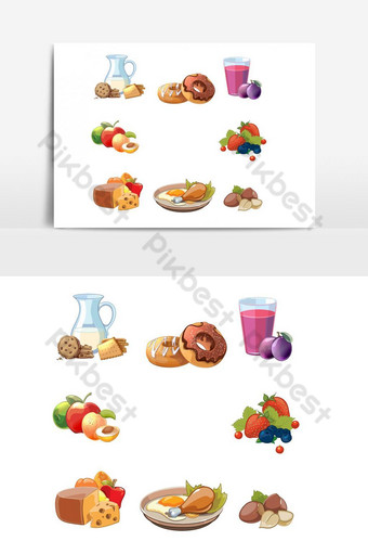 Food meal vector design set PNG Images Template AI