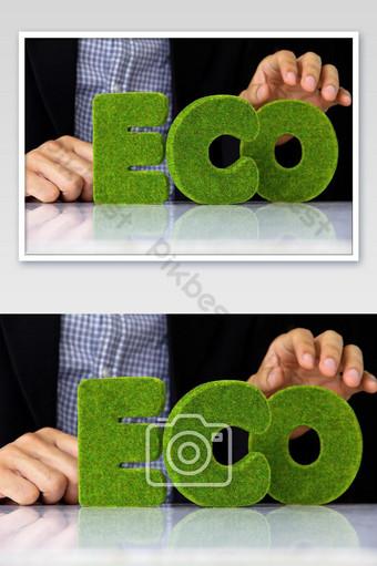 الحروف الخضراء من كلمة الأبجدية البيئية التصوير قالب JPG