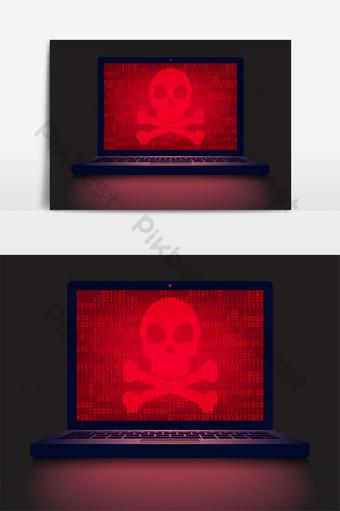 كمبيوتر محمول في غرفة مظلمة مع جمجمة حمراء وعظمتين متقاطعتين على خلفية شاشة رمز ثنائي متوهجة صور PNG قالب EPS