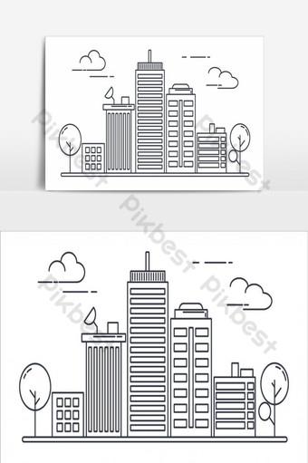elemento gráfico de vector de edificios de arte lineal fino Elementos graficos Modelo AI