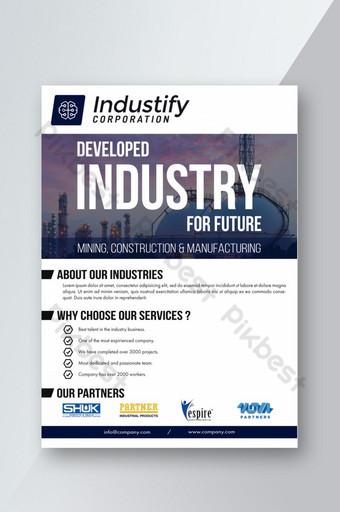 Business industriel prêt pour l'impression de flyer Modèle PSD