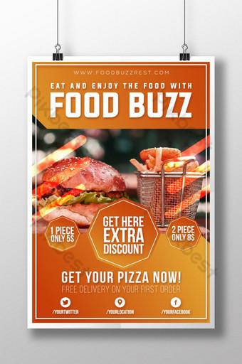 現代時尚美食嗡嗡聲海報 模板 AI