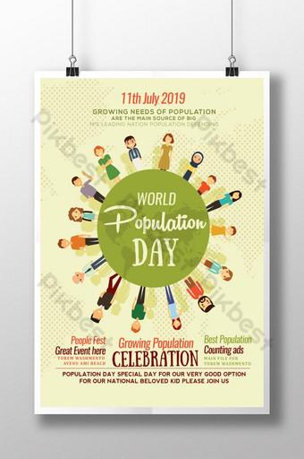 세계 인구의 날 축하 2019 포스터 템플릿 PSD