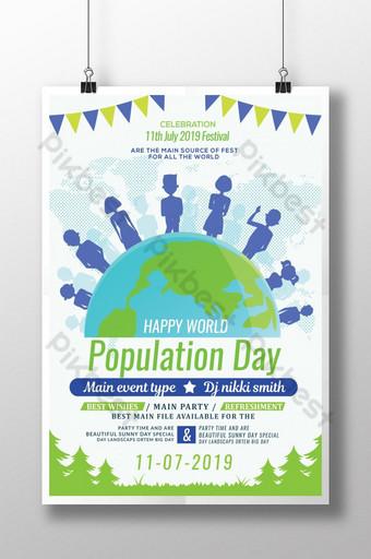 행복한 세계 인구의 날 포스터 템플릿 PSD