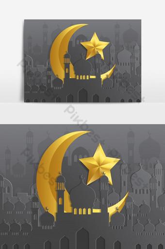 bulan dan bintang emas islami dengan elemen grafis vektor masjid Elemen Grafis Templat EPS