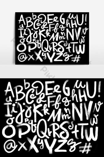 Alphabet dessiné main vintage crayon police dessin à la craie sur fond de tableau Éléments graphiques Modèle EPS