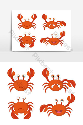 Cute Cartoon Red Crab Bundle Vector Graphic Element PNG Images Template AI