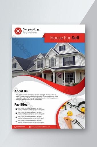 Dépliant d & # 39; affaires immobilier rouge moderne Modèle AI