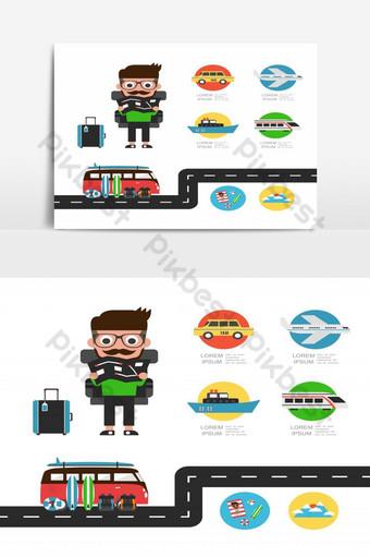 touriste avec carte en vacances Éléments graphiques Modèle EPS