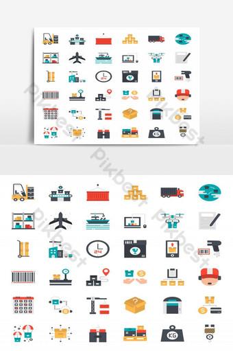 iconos de logística y transporte de estilo plano UI Modelo EPS